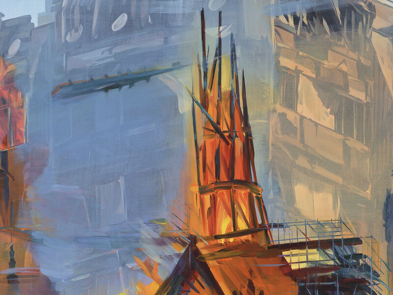 Duncan Wylie, Grenfell - Notre Dame (The Capital of Hell), 2020, huile sur toile, 183 x 267 cm, collection particulière